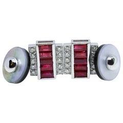 3.46 Karat Natural Ruby Baguette 0.59Kt White Diamond Moonstone Back Cufflinks