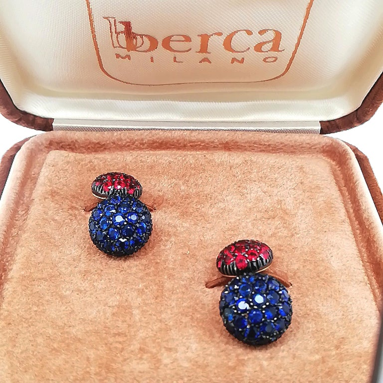 Contemporary Berca 5.3 Kt Blue Sapphire 3.45Kt Ruby Black Yellow Gold Cufflinks For Sale