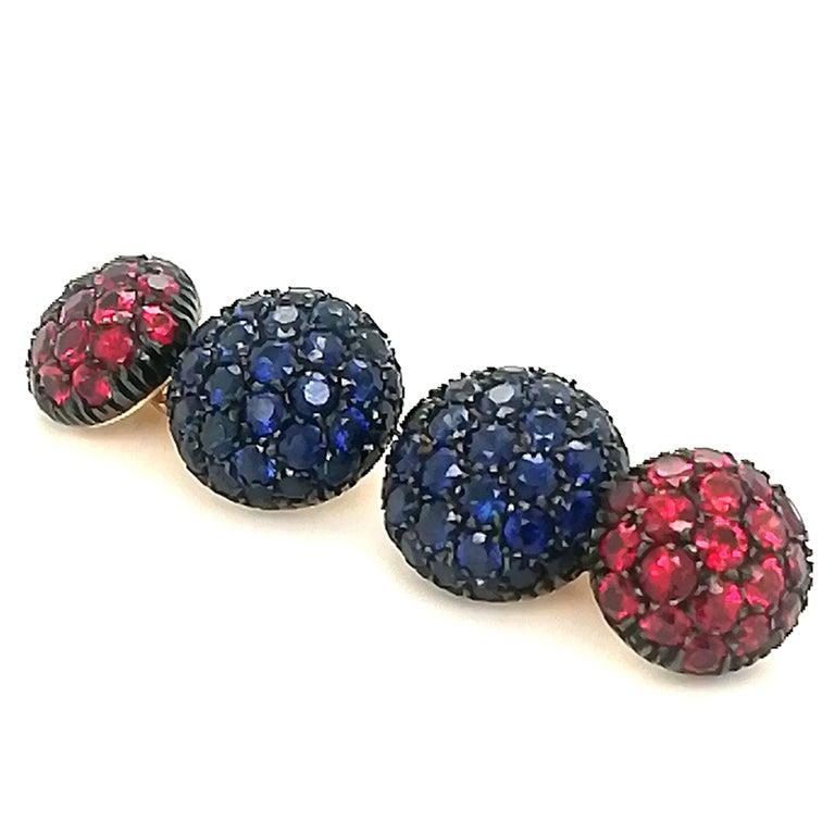 Brilliant Cut Berca 5.3 Kt Blue Sapphire 3.45Kt Ruby Black Yellow Gold Cufflinks For Sale