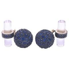 Berca 5.63 Carat Natural Blue Sapphire Black Yellow Gold Rock Crystal Cufflinks