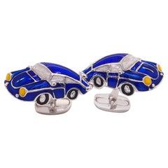 Berca 911 Porsche Shaped Navy Blue Hand Enameled Sterling Silver Cufflinks