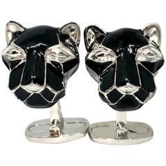 Berca Black Hand Enameled Cougar Head Shaped Sterling Silver Cufflinks