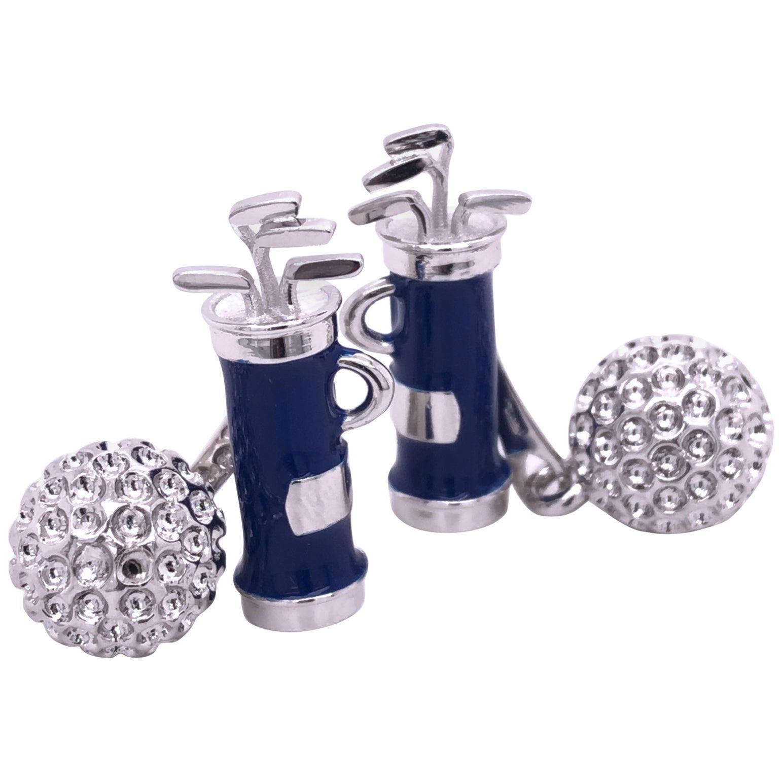 Berca Blue Hand Enameled Golf Bag, Ball Back Solid Sterling Silver Cufflinks