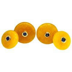 Berca Blue Sapphire in a 19.50 Kt Yellow Jade Disk 18K Gold Setting Cufflinks