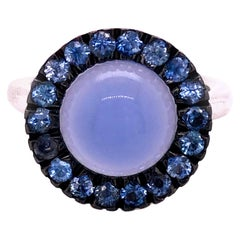 Berca Blue Sapphire Round Blue Chalcedony Cabochon White Gold Cocktail Ring