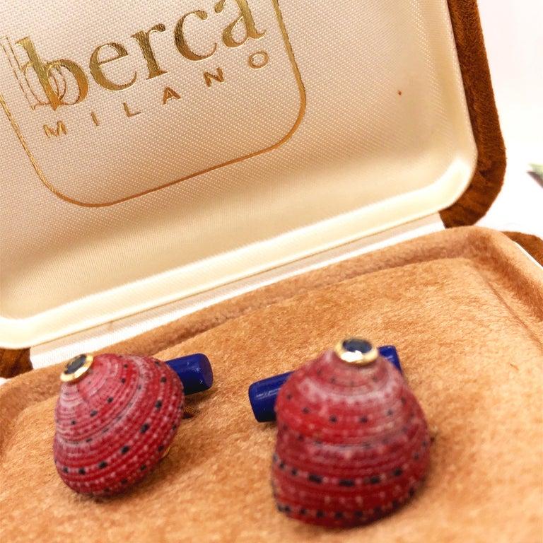 Berca Blue Sapphire Strawberry Red Shell Lapis Baton Back 18K Gold Cufflinks For Sale 7