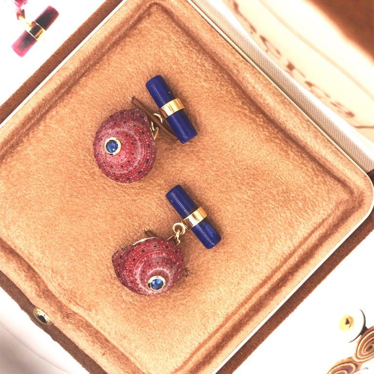 Berca Blue Sapphire Strawberry Red Shell Lapis Baton Back 18K Gold Cufflinks For Sale 8
