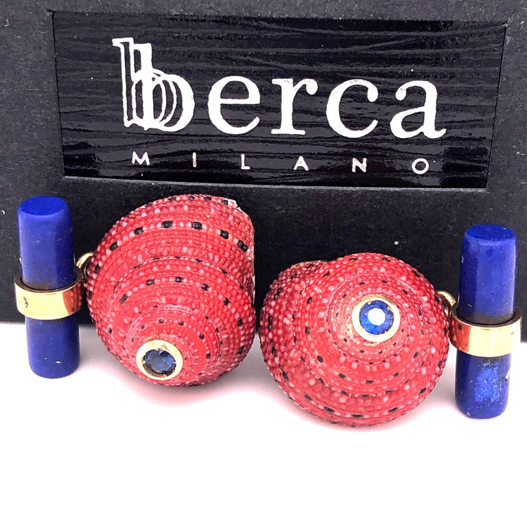 Contemporary Berca Blue Sapphire Strawberry Red Shell Lapis Baton Back 18K Gold Cufflinks For Sale