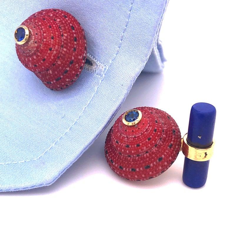Berca Blue Sapphire Strawberry Red Shell Lapis Baton Back 18K Gold Cufflinks For Sale 3