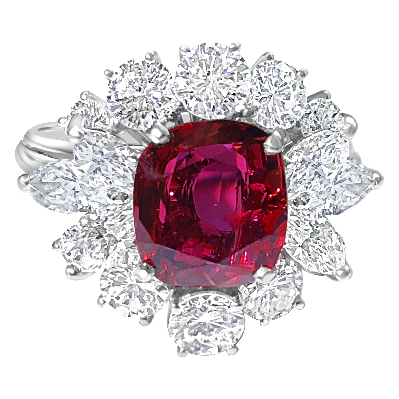 Berca GIA Certified 2.23Kt No Heat Cushion Cut Siam Red Ruby 1960 Ballerina Ring