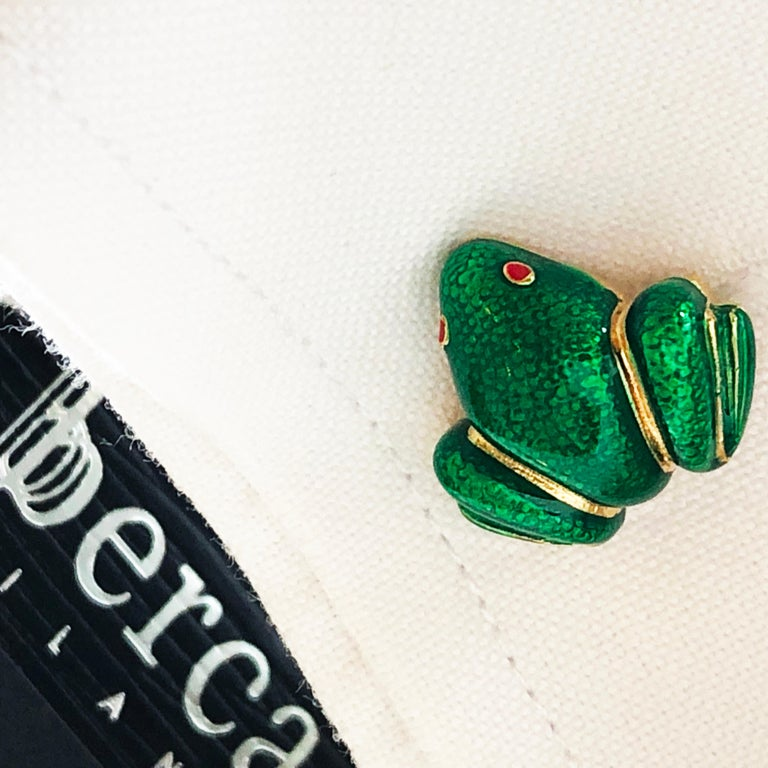 Berca Green Hand Enameled Frog Shaped Sterling Silver Gold-Plated Cufflinks For Sale 5