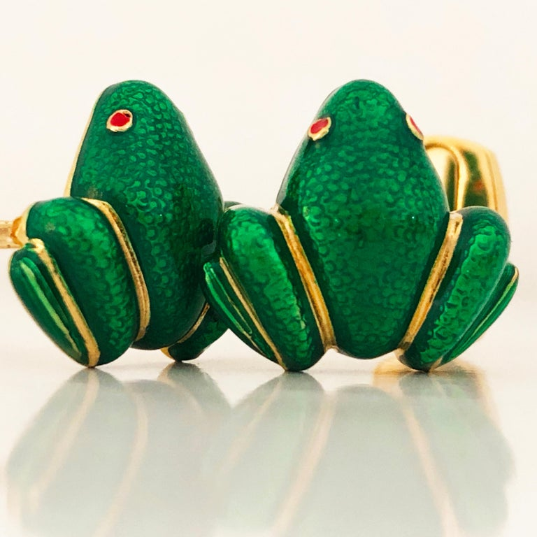 Contemporary Berca Green Hand Enameled Frog Shaped Sterling Silver Gold-Plated Cufflinks For Sale