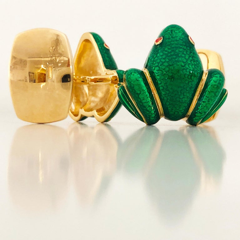 Men's Berca Green Hand Enameled Frog Shaped Sterling Silver Gold-Plated Cufflinks For Sale