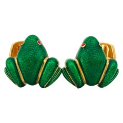 Green Hand Enameled Frog Shaped Sterling Silver Gold-Plated Cufflinks