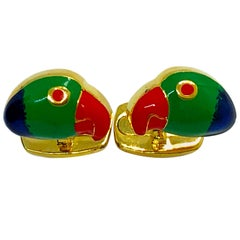 Berca Hand Enameled Brazilian Parrot Sterling Silver Gold-Plated Cufflinks