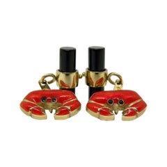 Berca Hand Enameled Red Crab, Cancer Sign Shaped Onyx Stick Back Gold Cufflinks