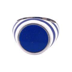 Berca Lapis Lazuli White Blue Enameled Sterling Silver Cocktail Ring