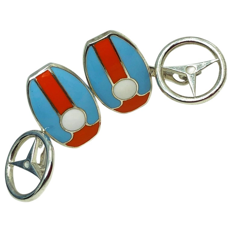 Berca Le Man Race Gulf Colors Hand Enameled Wheel Back Sterling Silver Cufflinks For Sale