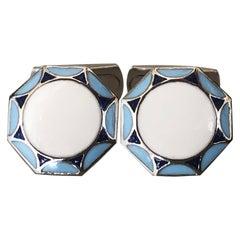 Berca Light Blue White Navy Blue Enameled Sterling Silver Cufflinks T-Bar Back