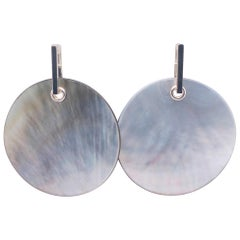 Berca Light Grey Mother of Pearl Disk Sterling Silver Removable Dangle Earrings