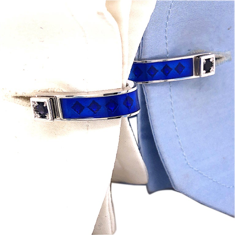 Berca Natural Iolite Navy Blue Hand Enameled Stirrup Sterling Silver Cufflinks For Sale 4