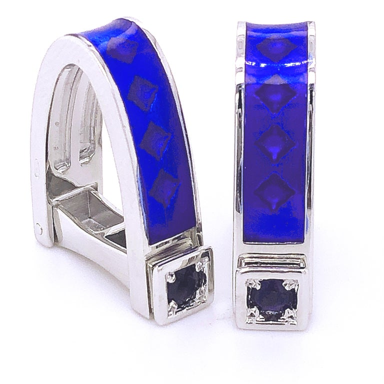 Chic, Unique yet Timeless Natural 0.30Kt Brilliant Iolite Navy Blue Hand Enameled Stirrup Shaped Sterling Silver Cufflinks. In our Smart Black Box and Pouch.