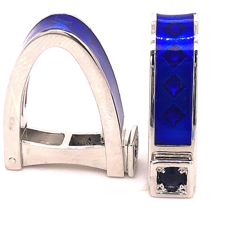 Brilliant Cut Berca Natural Iolite Navy Blue Hand Enameled Stirrup Sterling Silver Cufflinks For Sale