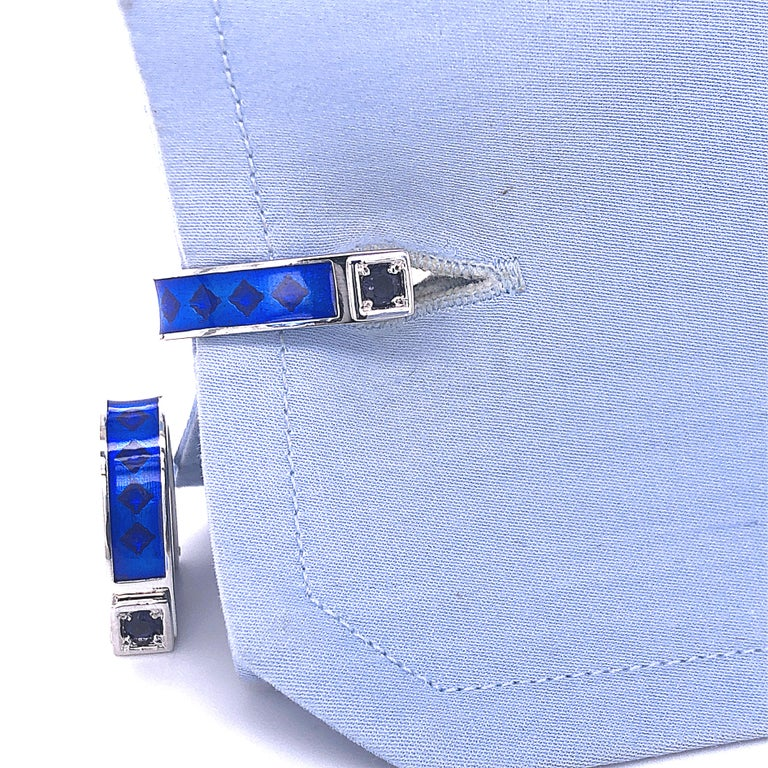 Berca Natural Iolite Navy Blue Hand Enameled Stirrup Sterling Silver Cufflinks In New Condition For Sale In Valenza, IT