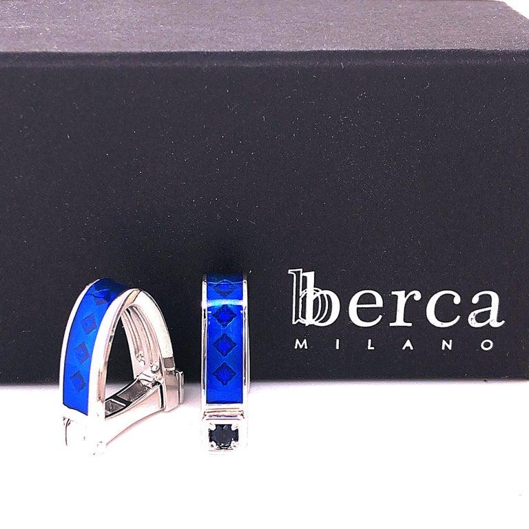 Berca Natural Iolite Navy Blue Hand Enameled Stirrup Sterling Silver Cufflinks For Sale 1