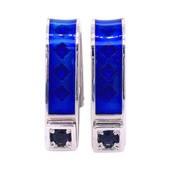 Berca Natural Iolite Navy Blue Hand Enameled Stirrup Sterling Silver Cufflinks