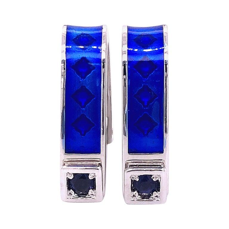 Berca Natural Iolite Navy Blue Hand Enameled Stirrup Sterling Silver Cufflinks For Sale