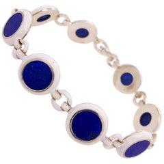 Berca Natural Lapis Lazuli White Hand Enameled Sterling Silver Bracelet