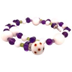 Berca Natural White Kogolon Pearl White Diamond Amethyst Peridot Ruby Necklace