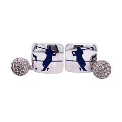 Berca Navy Blue Enameled Golf Player Little Ball Solid Sterling Silver Cufflinks