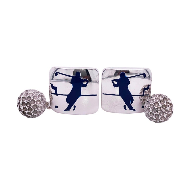 Berca Navy Blue Enameled Golf Player Little Ball Solid Sterling Silver Cufflinks For Sale