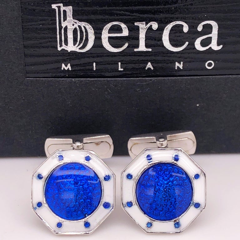 Chic yet Timeless Octagonal White, Navy Blue Hand Enamelled Sterling Silver Cufflinks, T-bar back. In our Smart Fitted Black Box and Pouch.  Front Diameter 0.55 inches.