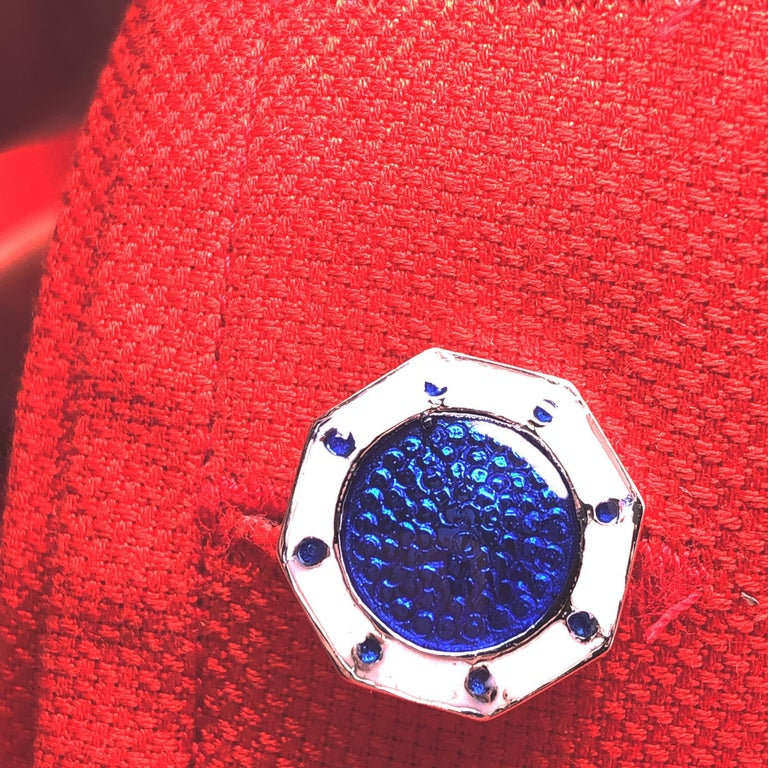 Berca Octagonal White Navy Blue Enameled Sterling Silver Cufflinks T-Bar Back In New Condition For Sale In Valenza, IT