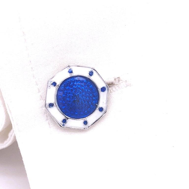 Men's Berca Octagonal White Navy Blue Enameled Sterling Silver Cufflinks T-Bar Back For Sale