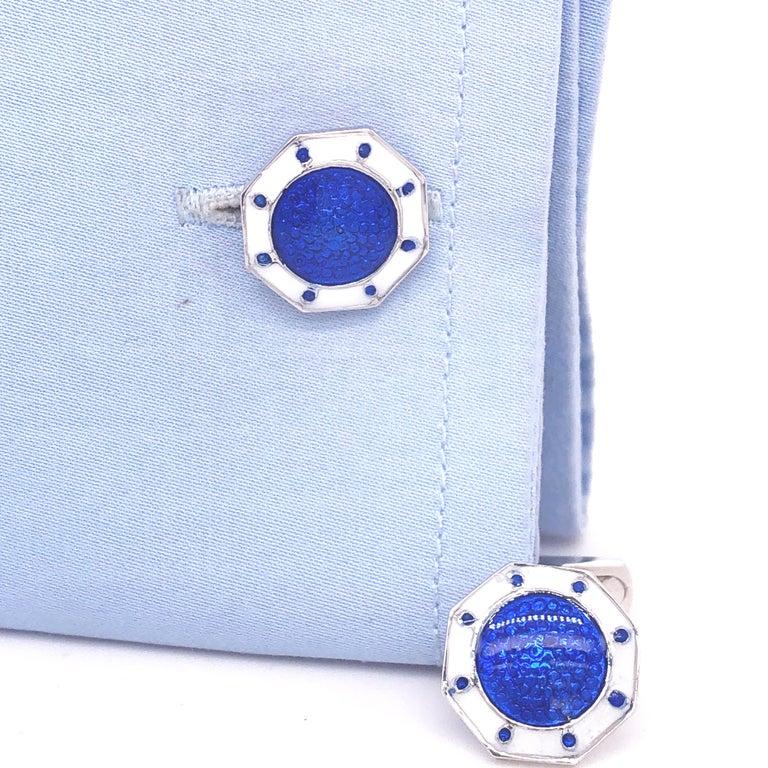 Berca Octagonal White Navy Blue Enameled Sterling Silver Cufflinks T-Bar Back For Sale 1