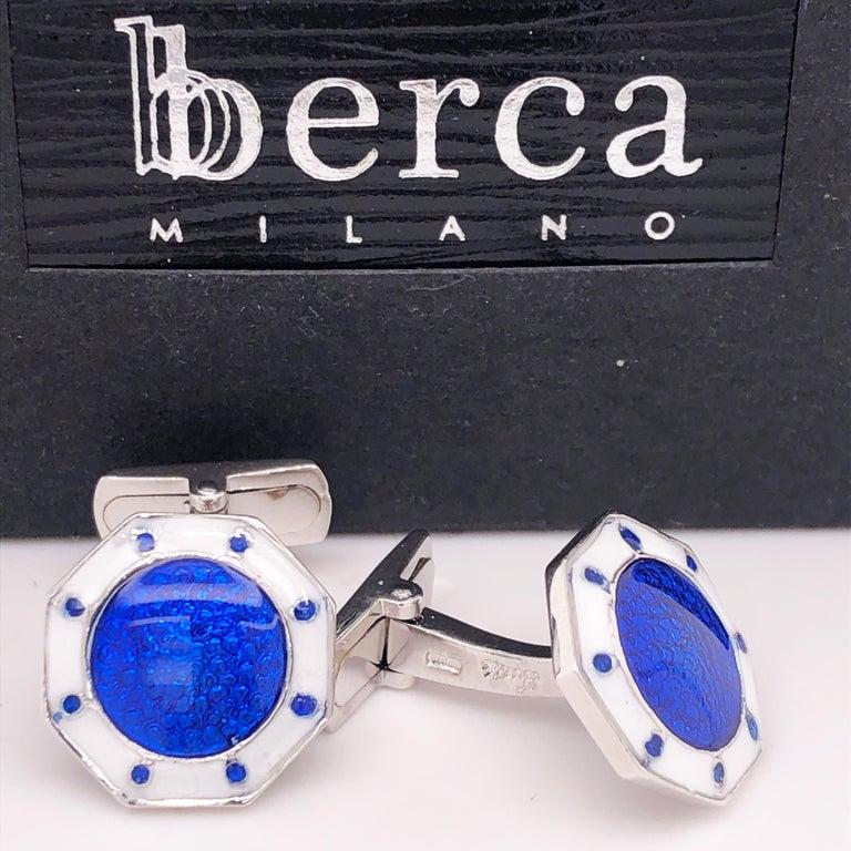 Berca Octagonal White Navy Blue Enameled Sterling Silver Cufflinks T-Bar Back For Sale 2