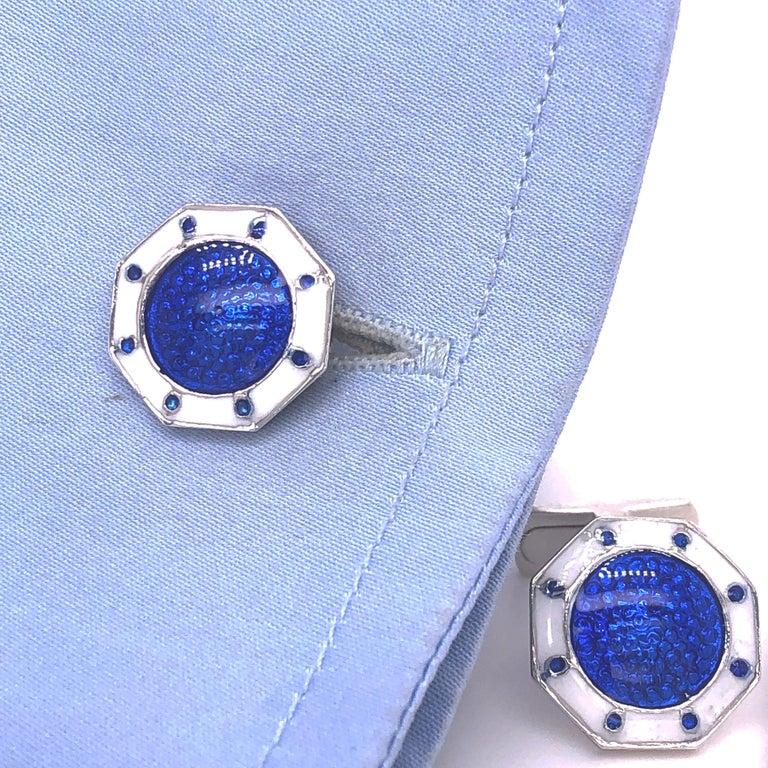 Berca Octagonal White Navy Blue Enameled Sterling Silver Cufflinks T-Bar Back For Sale 3