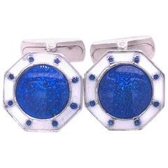 Berca Octagonal White Navy Blue Enameled Sterling Silver Cufflinks T-Bar Back