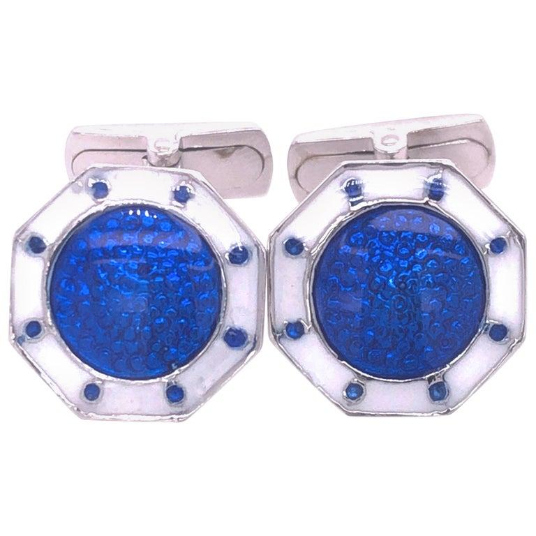 Berca Octagonal White Navy Blue Enameled Sterling Silver Cufflinks T-Bar Back For Sale