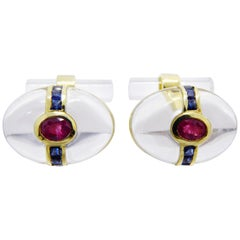 Berca Oval Rock Crystal Square Cut Sapphire Oval Ruby 18 Karat Gold Cufflinks