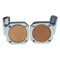Berca Round Brushed Rose Gold Squared Shaped Sterling Silver Cufflinks