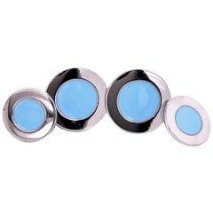 Berca Round Pastel Blue Hand Enameled Sterling Silver Cufflinks