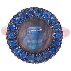 Berca Sapphire Round Labradorite Cabochon Rose Gold Cocktail Ring