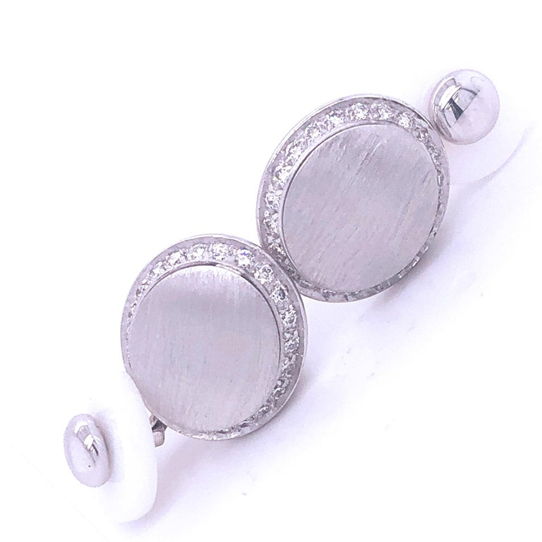 Contemporary Berca White Diamond 18k Oval Hand Brushed White Gold White Agate Back Cufflinks For Sale