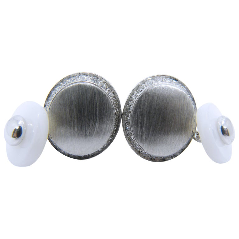Berca White Diamond 18k Oval Hand Brushed White Gold White Agate Back Cufflinks For Sale