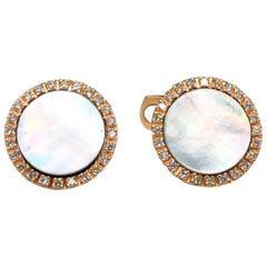 Berca White Diamond Light Grey Mother of Pearl 18 Karat Rose Gold Cufflinks